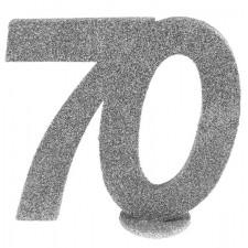 Décoration argent pour table d'anniversaire 70 ans