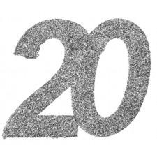 Confettis de table 20 ans couleur argent