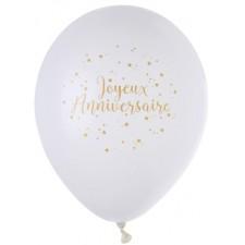 Ballon anniversaire blanc et or