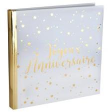 Grand livre d'or anniversaire blanc et doré