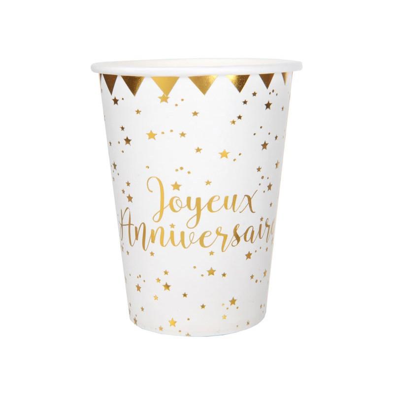 Gobelets anniversaire blanc et or
