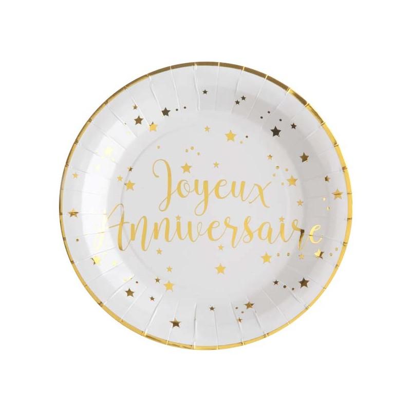 Assiettes dorées pour anniversaire