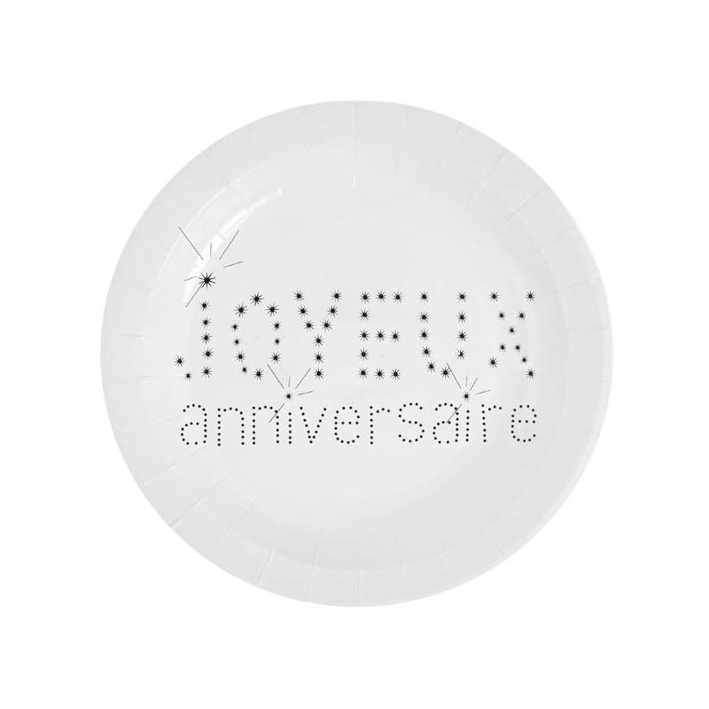 Assiettes en carton anniversaire blanches