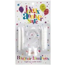 Bougie anniversaire chiffre 2 avec led