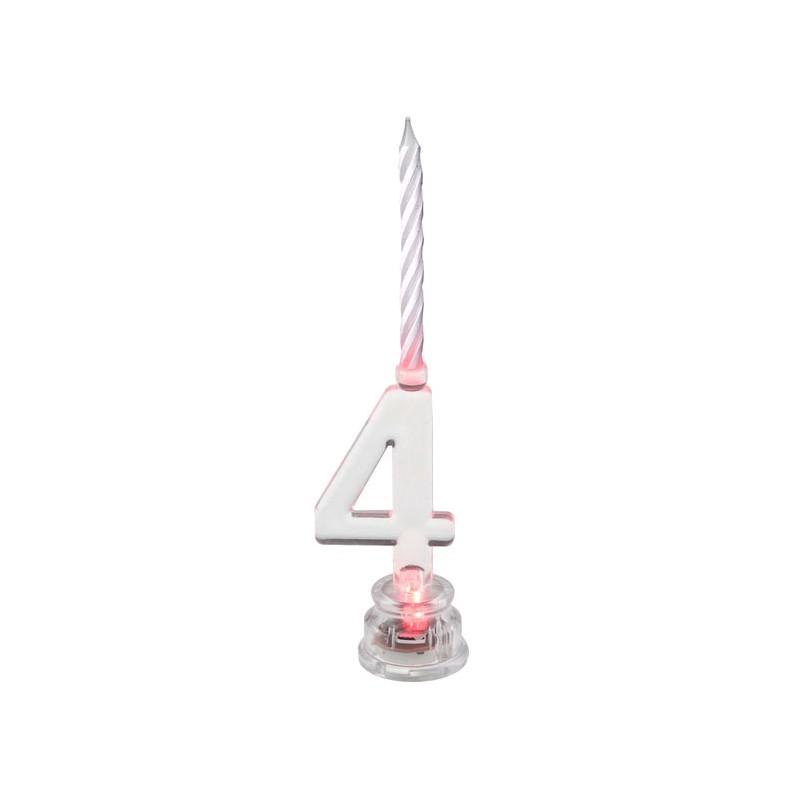Bougie led anniversaire en forme de chiffre 4