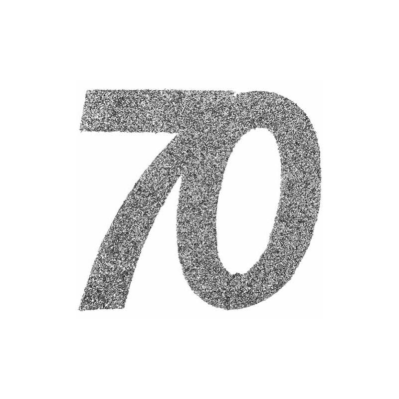 Confettis de table argent anniversaire 70 ans
