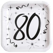 Assiettes en carton pour anniversaire 80 ans