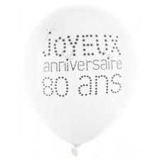 Ballon d'anniversaire 80 ans blancs et noirs en latex