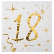 Serviettes dorées anniversaire 18 ans