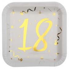 Paquet de 10 assiettes en carton 18 ans dorées et blanches