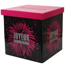 Urne d'anniversaire en carton pas cher noir et rose