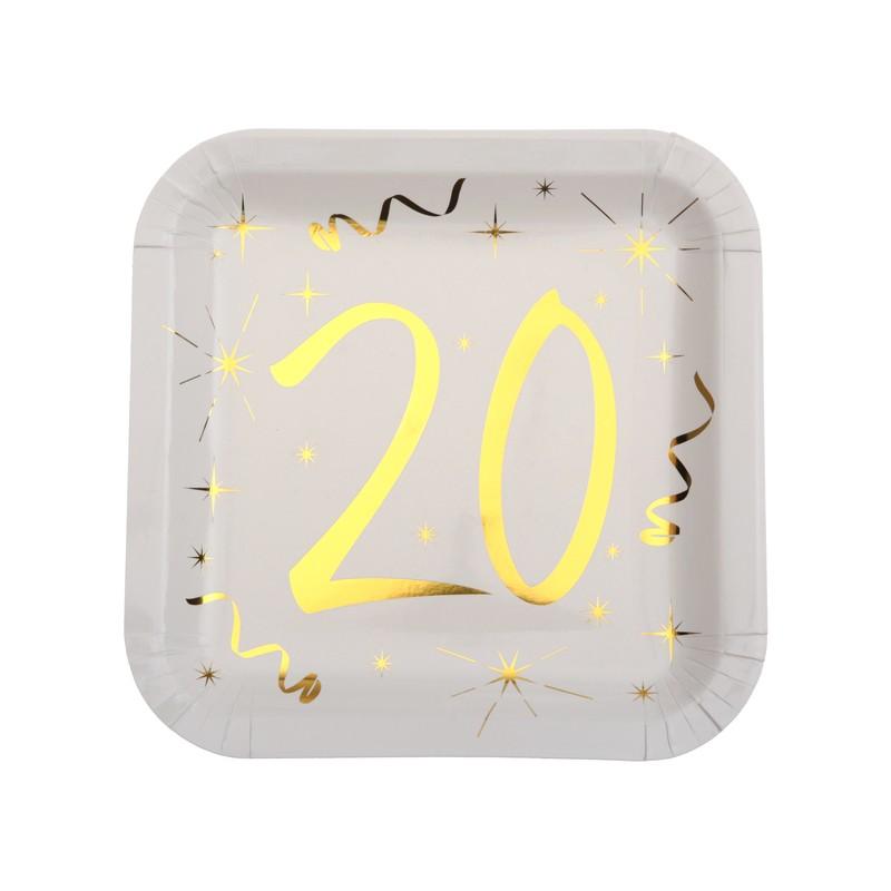 Assiettes 20 ans carrées en carton pour anniversaire