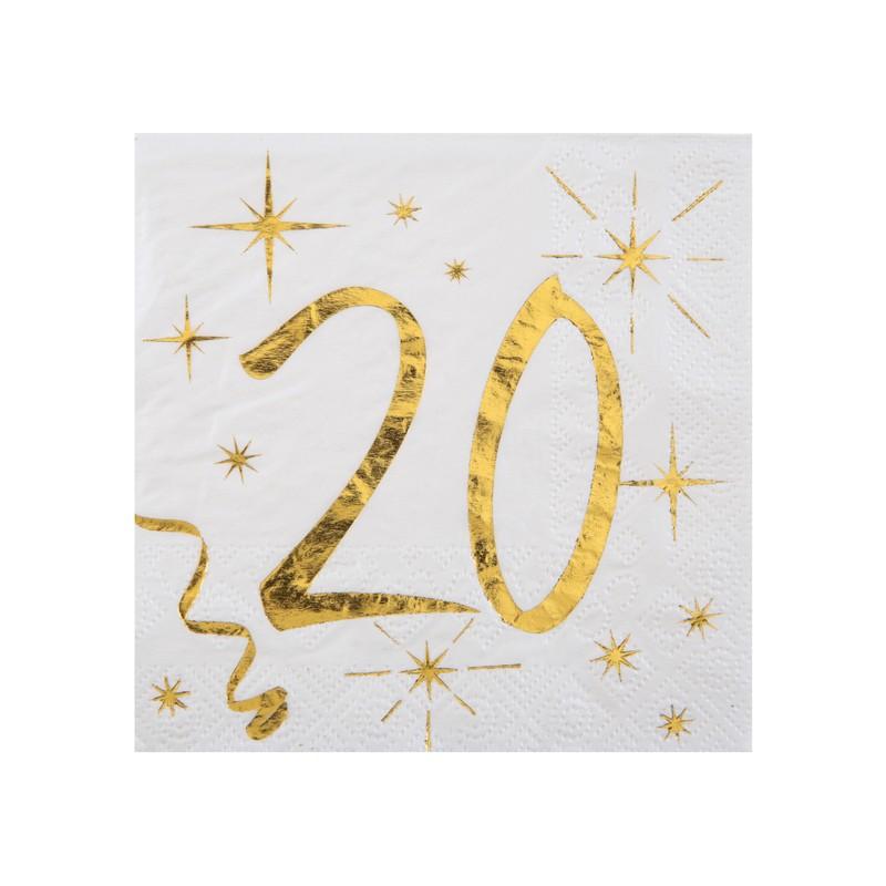 Serviettes d'anniversaire 20 ans blanches et dorées