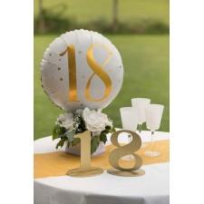 Décoration d'anniversaire 18 ans or et blanc avec ballon hélium