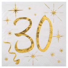 Serviettes blanches et dorées pour anniversaire 30 ans