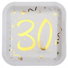 Assiettes carrées en carton pour anniversaire 30 ans