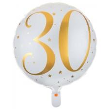 Ballon mylar 30 ans gonflable à l'hélium or et blanc