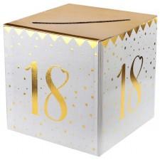 Urne anniversaire 18 ans blanche et dorée