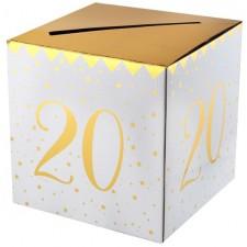 Urne pour anniversaire 20 ans blanche et dorée