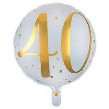 Ballon hélium 40 ans en aluminium blanc et or