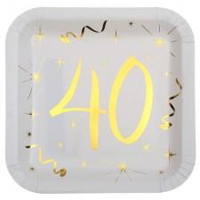 Assiettes carrées 40 ans pour anniversaire dorées