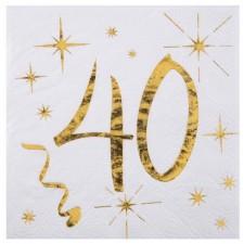 Serviettes 40 ans dorées pour anniversaire