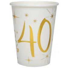 Gobelets pour anniversaire 40 ans en carton dorés