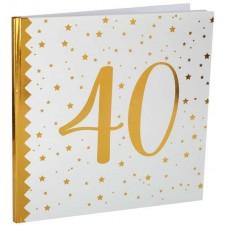 Livre d'or 40 ans pour anniversaire chic blanc et or de 22 pages