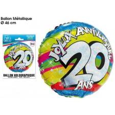 Ballon d'anniversaire 20 ans en aluminium gonflable à l'helium