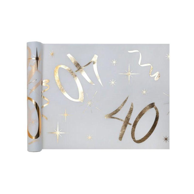 Chemin de table pour table d'anniversaire 40 ans blanc et or