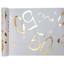 Chemin de table pour déco de table d'anniversaire 50 ans blanc et or