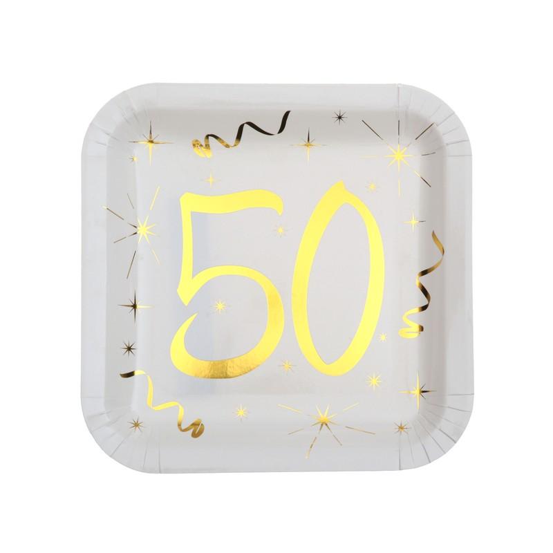 Assiettes en carton 50 ans carrées pour anniversaire blanc et or