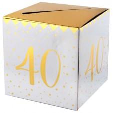 Urne 40 ans pour anniversaire blanc et or