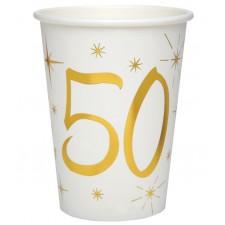 Gobelets d'anniversaire 50 ans blanc et or
