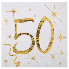 Serviettes en papier 50 ans blanc et or