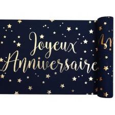 Chemin de table couleur bleu et or joyeux anniversaire de 3 mètres