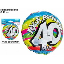 Ballon mylar anniversaire 40 ans