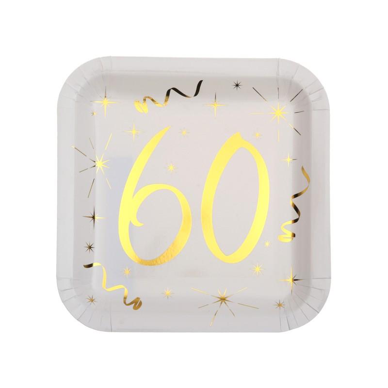 Assiettes en carton 60 ans carrées pour anniversaire