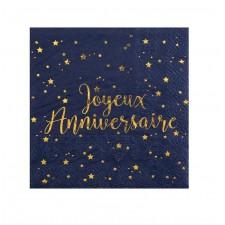 Serviettes bleues et or pour anniversaire