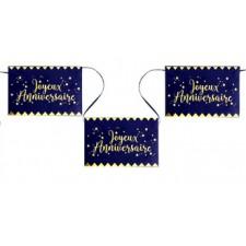 Banderole dorée et bleue pour anniversaire