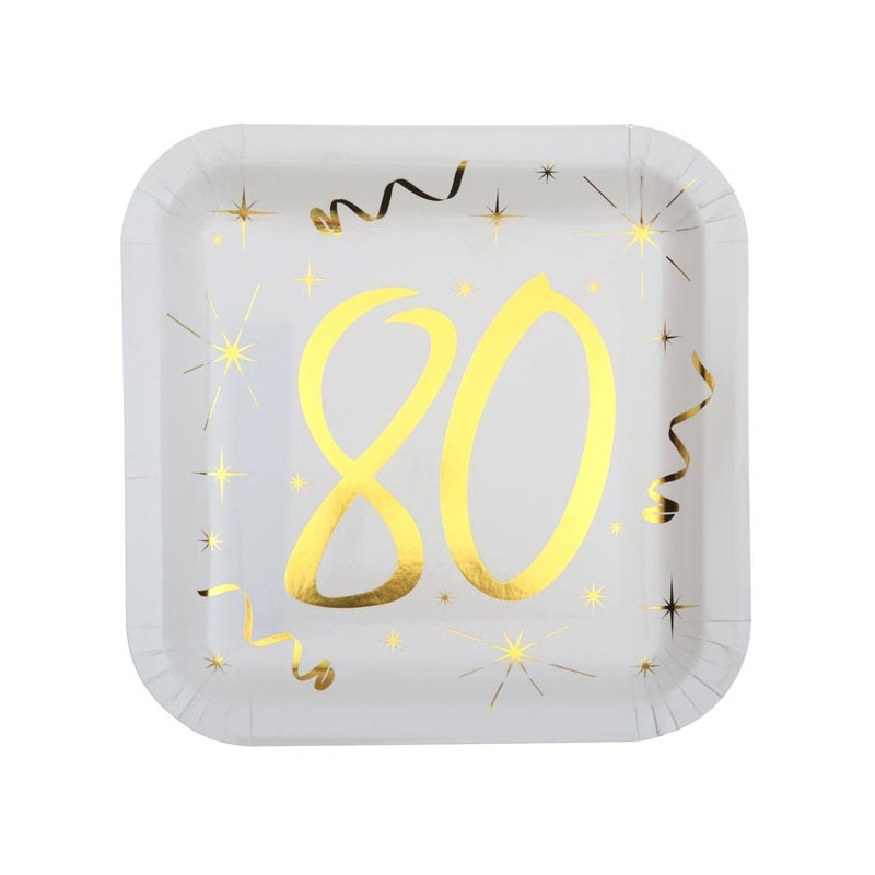 Assiettes 80 ans en carton carrées pour anniversaire