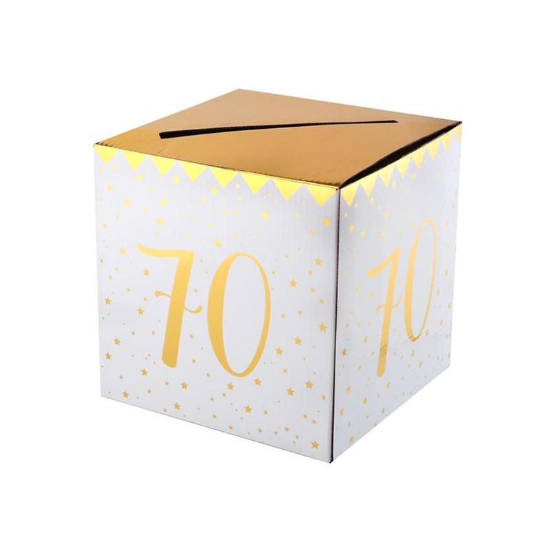 Urne pour anniversaire 70 ans blanc et or