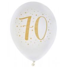 Ballons pour anniversaire 70 ans blanc et or en latex