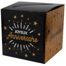 Urne pour anniversaire en carton noir et or