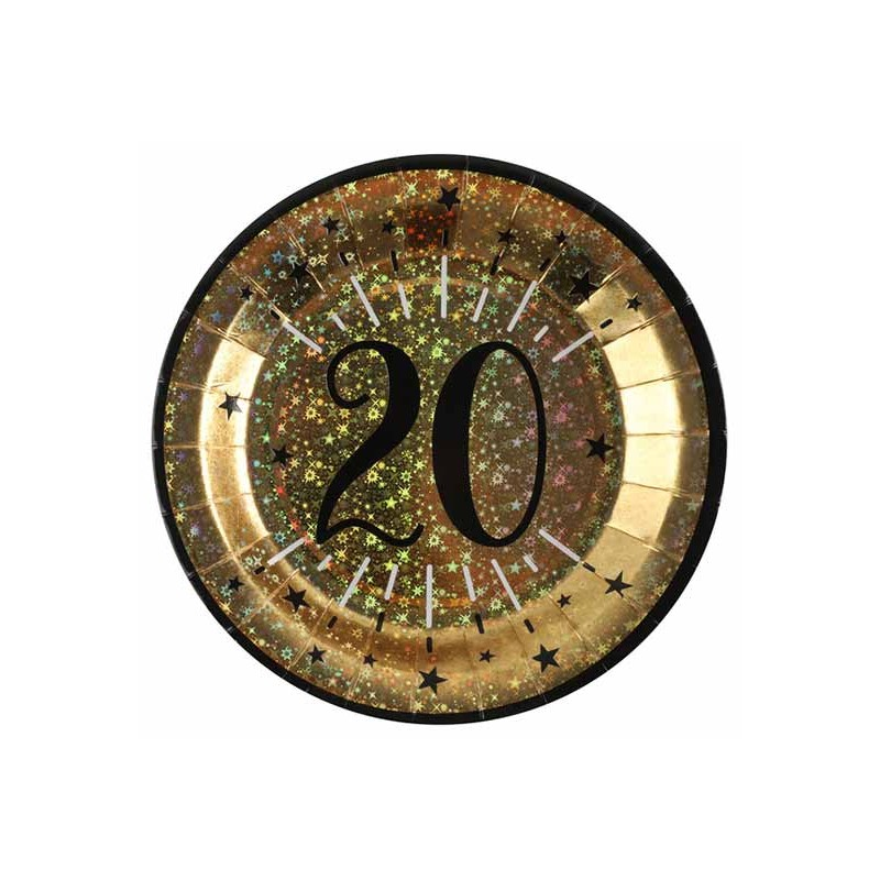 Assiettes pour anniversaire noir et or 20 ans
