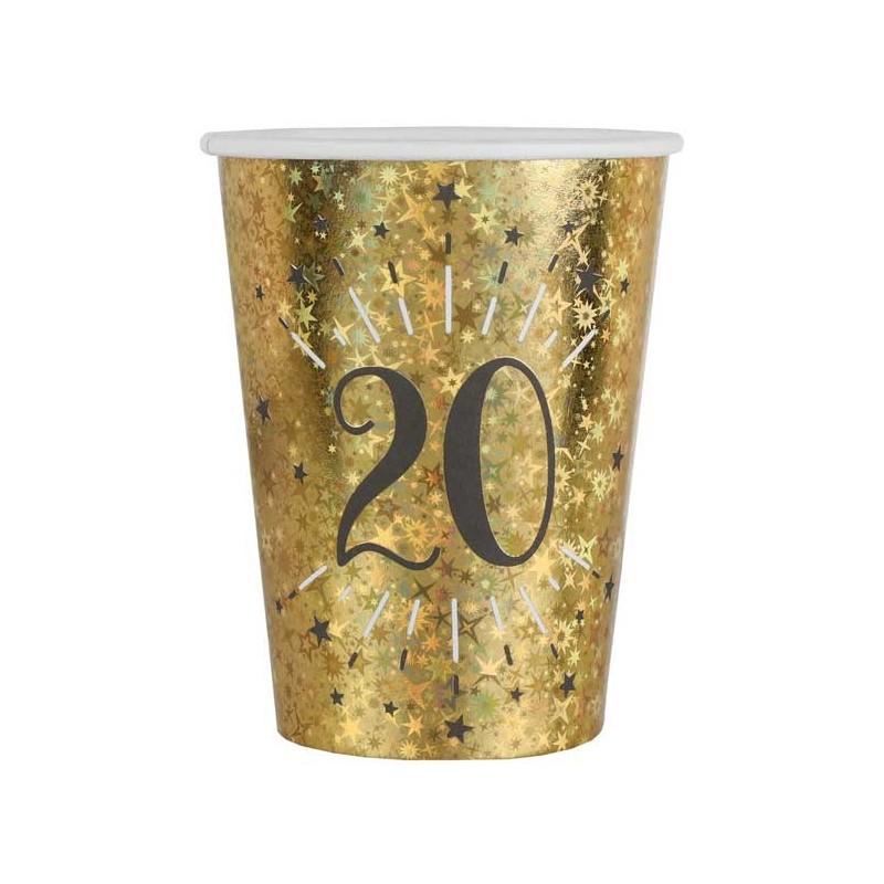 Gobelets en carton anniversaire 20 ans dorés