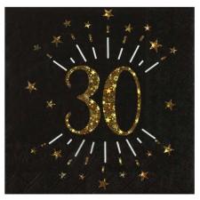 Serviettes chics noires et dorées pour déco de table d'anniversaire 30 ans