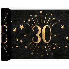 Chemin de table 30 ans d'anniversaire pour table noir et or