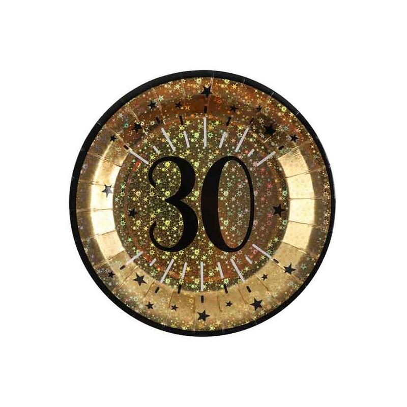 Assiettes pour anniversaire 30 ans noir et or en carton