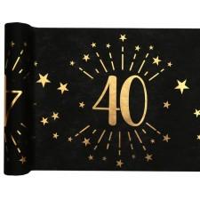 Chemin de table pour anniversaire 40 ans de 5 mètres noir et doré